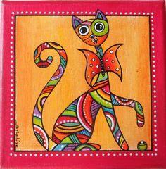 un tableau du chat joueur et tr s color papillon d corations murales par sylphide dessin. Black Bedroom Furniture Sets. Home Design Ideas