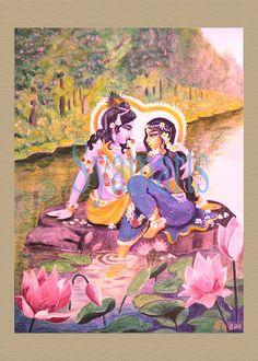 Vintage painting prints Syamarts Divine couple Radha Krishna home altars yoga meditation lotus autumnal pink India romance love anniversary