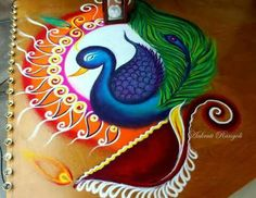 latest Simple Rangoli Designs Images Photos for Diwali 2018 ~ Happy Diwali Images Wishes 2018 Rangoli Designs Peacock, Simple Rangoli Designs Images, Rangoli Designs Latest, Rangoli Border Designs, Colorful Rangoli Designs, Rangoli Patterns, Rangoli Ideas, Rangoli Designs Diwali, Diwali Rangoli