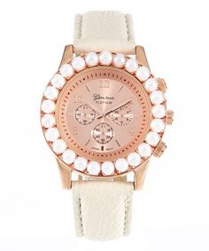Love this Ivory & Pink Faux Pearl Bezel Chronograph Watch on #zulily! #zulilyfinds