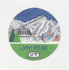 Hand painted needlepoint canvas Jay Peak, Vermont