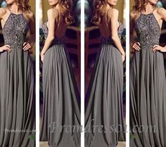 Vintage grey chiffon straps backless prom dress Handmade item Materials: chiffon, sequin, bead Made to order Color: refer to image Processing time:15-25 business days Delivery date:5-10 business days Dress code:E0302B Fabric: Chiffon Embellishment: Sequin, bead Straps: With straps Sleeves:Sleeveless Silhouette: A-Line Necklin...
