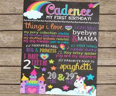 First Birthday Chalkboard Rainbow Unicorn Pony Birthday Poster - PRINTED Rainbow Party Unicorn Party Pony First Birthday Girl Party Sign by PlayOnWordsArt on Etsy https://www.etsy.com/listing/185453295/first-birthday-chalkboard-rainbow