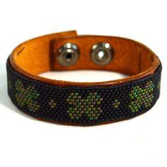 Mens Irish Clover Leather Bracelet