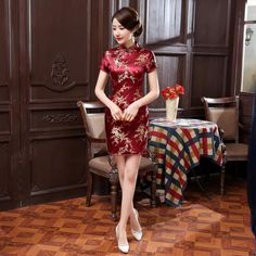 New Burgundy Chinese Female Short Qipao National Style Silk Satin Cheongsam  Women Sexy Mini Dress Plus Size. Alberta Corbina · Traditional Chinese  Clothing dc925ec88e2a
