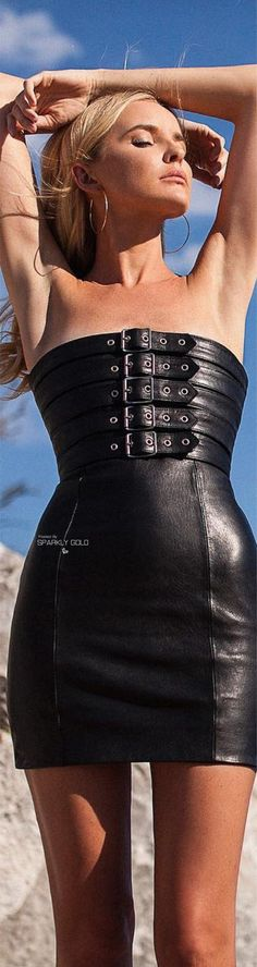 Black leather dress with buckled top