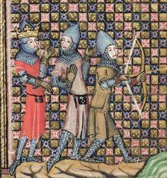 Bodley 264 Romance of Alexander Medieval Archer, Medieval Art, Medieval Fantasy, Medieval Stained Glass, Alexander The Great, Knights Templar, 14th Century, Illuminated Manuscript, Archery