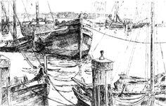 Willem Jans Dijk (1881-1970) Een zestal boten in de Vissershaven van Scheveningen, 1926.
