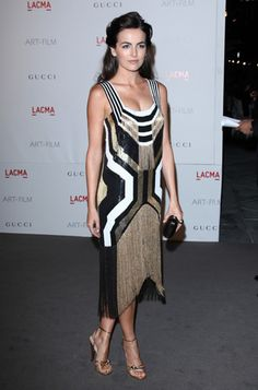 Camilla Belle in a Gatsby-style Gucci cocktail dress.