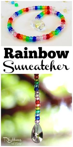 Making a pony bead and prism suncatcher is a fun fine motor activity for kids and adults of all ages. Suncatchers made out of beads in a rainbow of colors are lovely home decor to hang in a window and enjoy. The prism will cast beautiful rainbows all over the room when the sun hits it. These would make a great decoration or favor idea for a rainbow birthday party.