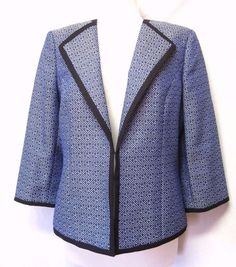 KASPER Flashy Blue Tweed/Black Trim OPEN JACKET/BLAZER Collarless EXC Sz M #Kasper #Blazer