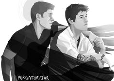 "purgatory-jar: ""@chevrolangel suggested reverse!verse, which I never drew, so I fixed that ;) If you think angel!Dean respects the dress code ya'll have another thing coming. And Cas is obviously..."