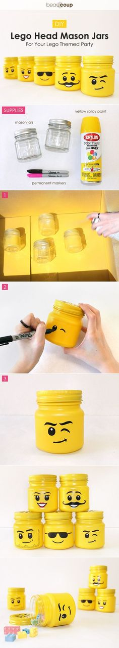 LEGO head mason jars!  Totally a fun gift for LEGO lovers - use for pencil holders, etc.