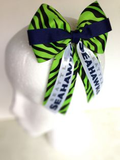 Seattle Seahawks 4 Cheer Bow with Attached by FlyFarBowsAndDreams, $9.00