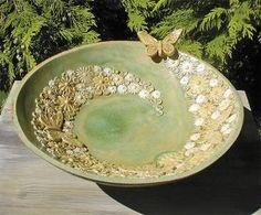How to Decorate Ceramic Tiles Ceramic Bird Bath, Ceramic Birds, Ceramic Flowers, Ceramic Clay, Ceramic Plates, Slab Pottery, Pottery Bowls, Ceramic Pottery, Pottery Barn