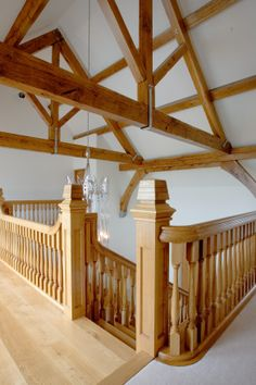 This bespoke timber staircase truly compliments the wooden beams in the ceiling.
