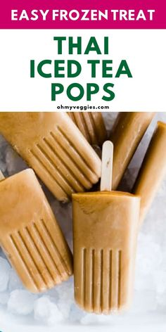 Sweet and creamy Thai iced tea, in popsicle form - and vegan, to boot! We can't think of a better way to cool down. Thai Ice, Canned Heat, Milk Tea, Iced Tea, Popsicles, Whole Food Recipes, Dairy Free, Vegetarian Recipes, Clean Eating