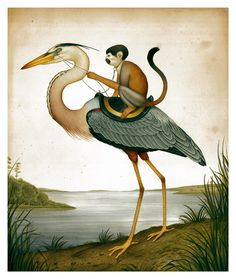 """""""An Issue of Control"""" , made by: Lindsey Carr Ink and Acrylic, 2013 - (Heron on a Leash) Art And Illustration, Glenn Arthur, Monkey Art, Merian, Kunst Poster, Surreal Art, Chinese Art, Painting Frames, Collage Art"""