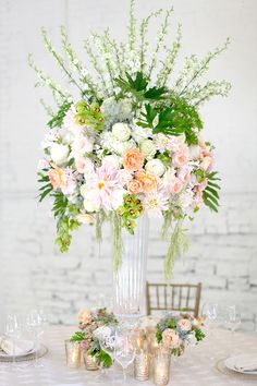 Tall centerpieces by Cincinnati wedding florist Floral Verde LLC. Tropical Centerpieces, Tall Wedding Centerpieces, Centrepieces, Vase Arrangements, Wedding Arrangements, Mod Wedding, Wedding Ideas, Wedding Themes, Wedding Bells
