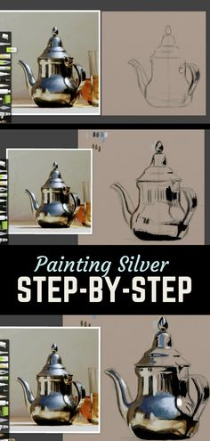 Drawing Step By Step Painting silver objects step-by-step - I go over 9 tips and tricks for painting silver objects in this article with a step-by-step progression digitally in ArtRage along with 2 acrylic examples. Art Lessons, Art Instructions, Digital Painting Tutorials, Artrage, Acrylic Painting Tips, Traditional Paintings, Step By Step Painting, Digital Painting, Painting Tips