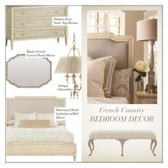 """""""Bedroom Decor"""" by kathykuohome ❤ liked on Polyvore featuring interior, interiors, interior design, home, home decor, interior decorating, bedroom, country and frenchcountry"""