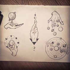 """Top left - thigh piece reference"" hand and solar system tattoo sketches Hand Tattoo, 1 Tattoo, Tattoo Drawings, Art Drawings, Cosmos Tattoo, Rock Tattoo, Space Drawings, Tattoo Thigh, Tattoo Flash"