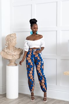 African Outfits, African Clothes, African Fashion Dresses, African Dress, African Print Pants, African Prints, Ethnic Fashion, Women's Fashion, Fashion Outfits