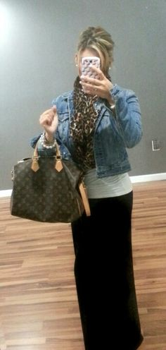 Pinterest outfit idea success.  Long black maxi skirt, white top, denim skirt. I added a cheetah scarf and my LV.