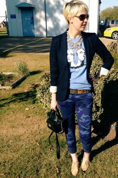 J Crew blazer, Gap pants #styldby, statement necklace, band tshirt.