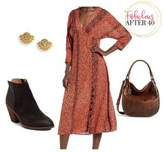 Fall 2019 Color Trends: Rust Dresses are Here! Fall Fashion Trends, Women's Fashion, Types Of Dresses, Dress With Boots, Look Chic, Casual Fall, Color Trends, Autumn Winter Fashion, Rust