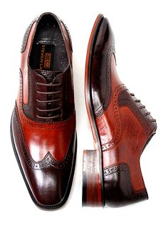 Steven Land Mens Cognac Brown Wingtip Leather Lace Shoe - SL100