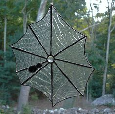 Spider web black spider stained glass by DesignsStainedGlass, $27.00