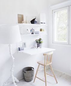 WeekdayCarnival by decor8, via Flickr Source: http://decor8blog.com/2012/12/14/inspired-by-weekday-carnival/ // kids corner desk area in all white room