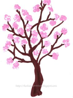 Fingerprint Spring Cherry Blossom Tree - Fun Handprint Art
