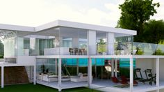 All Glass House incl interior walls, kitchen and bathroom cabinets, doors, floor and pool etc  MSA Sustainable architecture, New Zealand