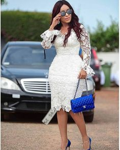African lace dresses - weddingguest Regrann from dumas TBT 💙💙 regrann African Lace Styles, African Lace Dresses, Latest African Fashion Dresses, Lace Gown Styles, African Traditional Dresses, Lace Dress With Sleeves, African Attire, Bridesmaid Dress, White Dress