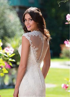 Allure Tulle & Satin Queen Anne Neckline Sheath Wedding Dresses With Lace Appliques