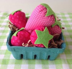 These are so fun! Based on some vintage handmade play strawberries, these are handmade with love. Your basket includes 7 of these sweet polka