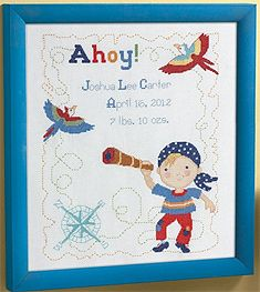 Bucilla ® Baby - Counted Cross Stitch - Crib Ensembles - Ships Ahoy - Birth Record Kit