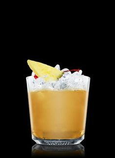 Hawaiian Stone Sour - Fill a shaker with ice cubes. Add all ingredients. Shake and strain into a chilled rocks glass filled with ice cubes. Garnish with a cherry and pineapple. 6 Parts Bourbon, 6 Parts Pineapple Juice, 4 Parts Simple Syrup, 3 Parts Lemon Juice, 1 Whole Cherry, 1 Slice Pineapple