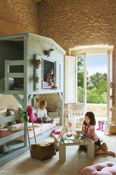 Kinder Abenteuerbett mit romantischem Baumhaus Design