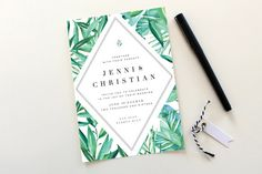 Botanical Wedding Invitations | Tropical Wedding Invitation, Destination…