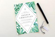 Botanical Wedding Invitations | Tropical Wedding Invitation, Destination Wedding, Exotic Wedding, Leaves, Botanicals, Leaves, Greenery