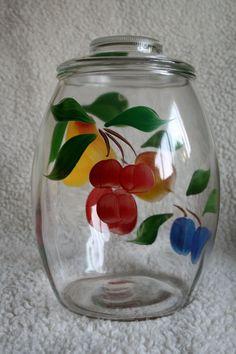 VINTAGE GAY FAD Cookie Jar Fruit Pattern by GrandmaFliesABroom, $25.00