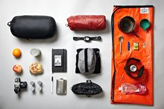furtherfarther:    S24O Bike Camping Packing List  Marmot Sawtooth 15F sleeping bag  ThermaRest ProLite mat  Headlamp  Food  Camera and film  Notebook and Pen  Domino playing cards  Flask  Smartwool base layer, warm clothes, Bounders wool hat  Timberland camp shoes  Poler Mystic Tarpent  Titanium pot set, cup, titanium spork, pocket knife, matches, army can opener  DIY alcohol stove and carbon felt windscreen  Denatured alcohol in a Platypus  #poler #campvibes #polerstuff