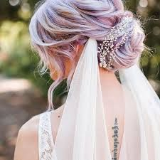 Wedding hair - Pastel purple up do with veil