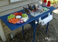 s 12 wildly creative ways to use your old sewing table, painted furniture, Or into this food and beverage station