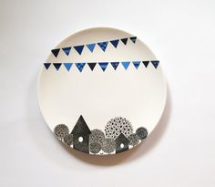 Blue village wall plate Small Size by ZuppaAtelier on Etsy Painted Plates, Hand Painted Ceramics, Ceramic Plates, Plates On Wall, Decorative Plates, Pottery Painting, Ceramic Painting, Pottery Lessons, Diy Mugs