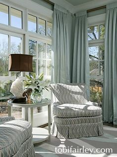 Bright and calming sitting area; design by Tobi Fairley
