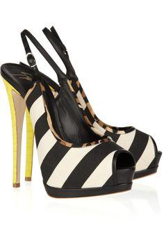 black and white stripes, yellow snakeskin / Giuseppe Zanotti